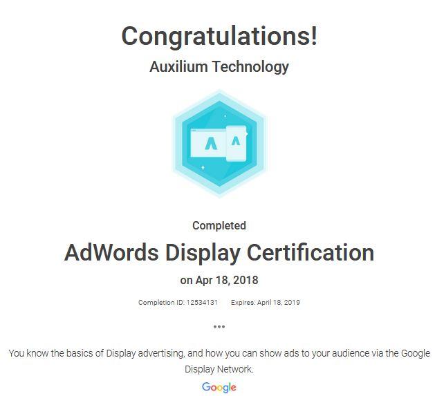 AdWords Display Certification - Auxilium