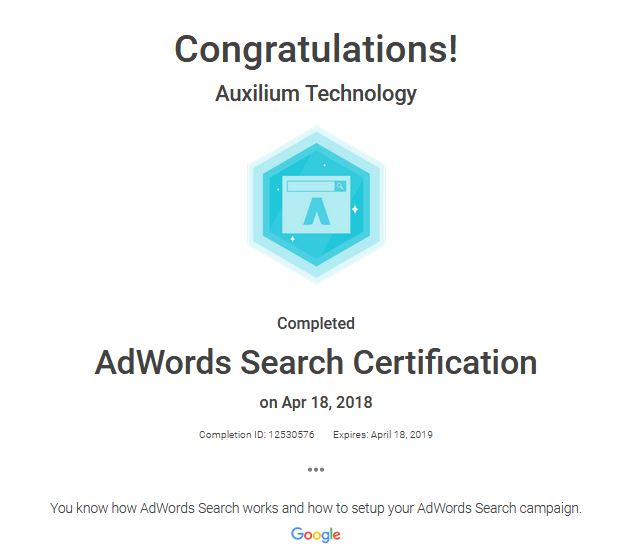 AdWords Search Certification - Auxilium