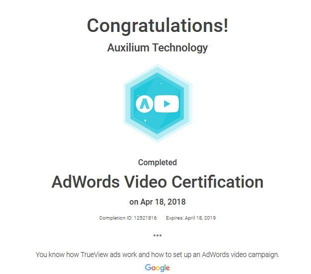 AdWords Video Certification - Auxilium