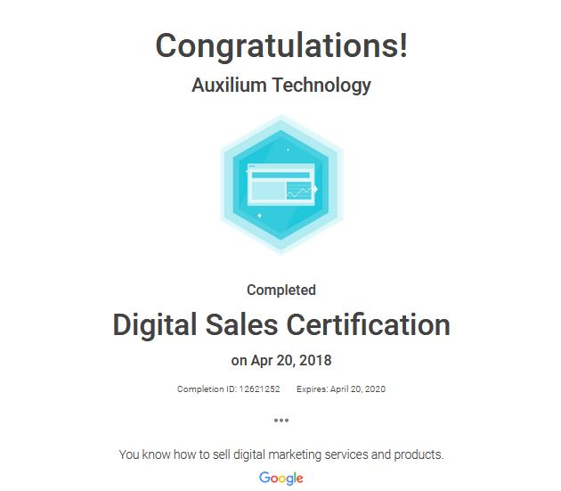 Digital Sales Certification – Auxilium