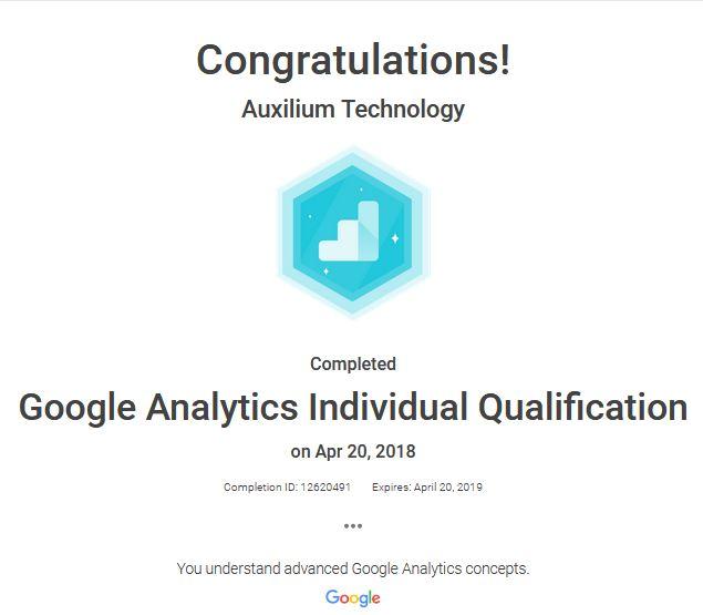 Google Analytics Individual Qualification - Auxilium