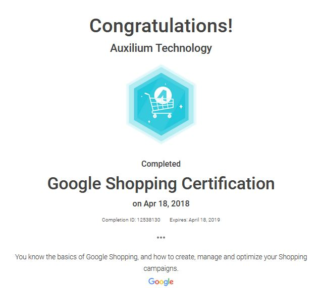 Google Shopping Certification - Auxilium