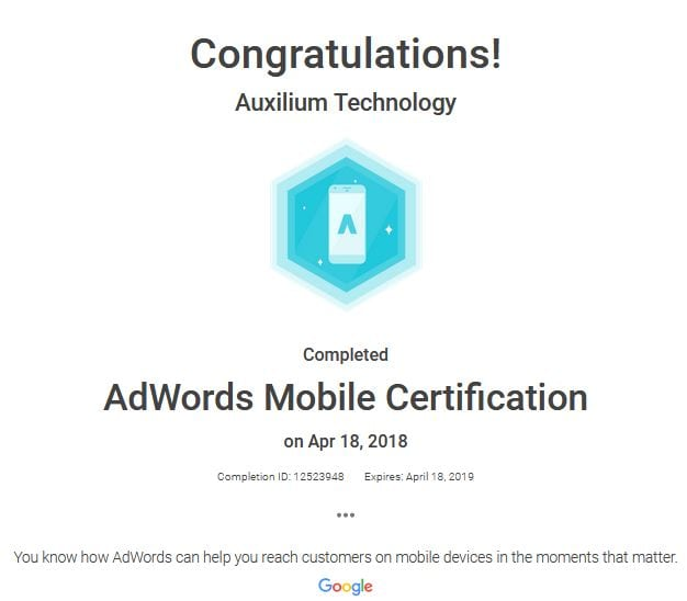 Google Mobile Website Certified – Auxilium Technology Is Google Certified And Why Is